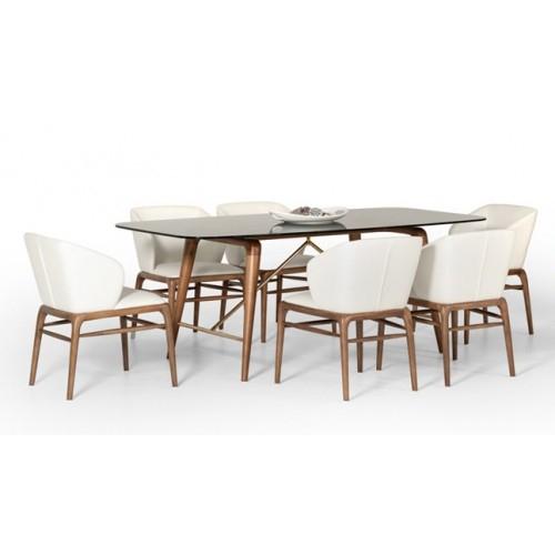 Kipling Rectangular Dining Tables Regarding Current Vig Furniture – Modrest Kipling Modern Walnut Dining Set – Vgcs16111 Set (#7 of 20)