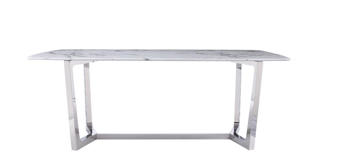 Kipling Rectangular Dining Tables Within Current Modrest Garrett Modern White Faux Marble & Stainless Steel Dining Table (#10 of 20)