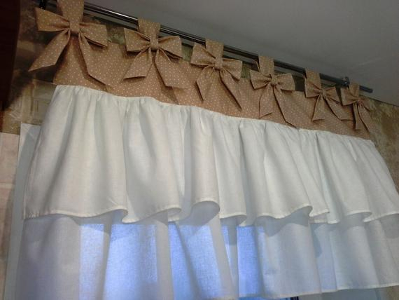 Kitchen Curtain Beige And White Polka Dot With Bows And Frills.100%  Cotton.french Style Curtains.farmhouse Curtains (View 24 of 50)