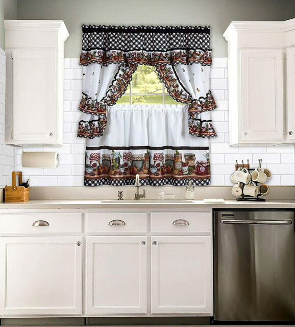 Kitchen Curtain Cottage Set, Tiers And Ruffled Swag,3 Naturally Home In Red Delicious Apple 3 Piece Curtain Tiers (View 21 of 50)
