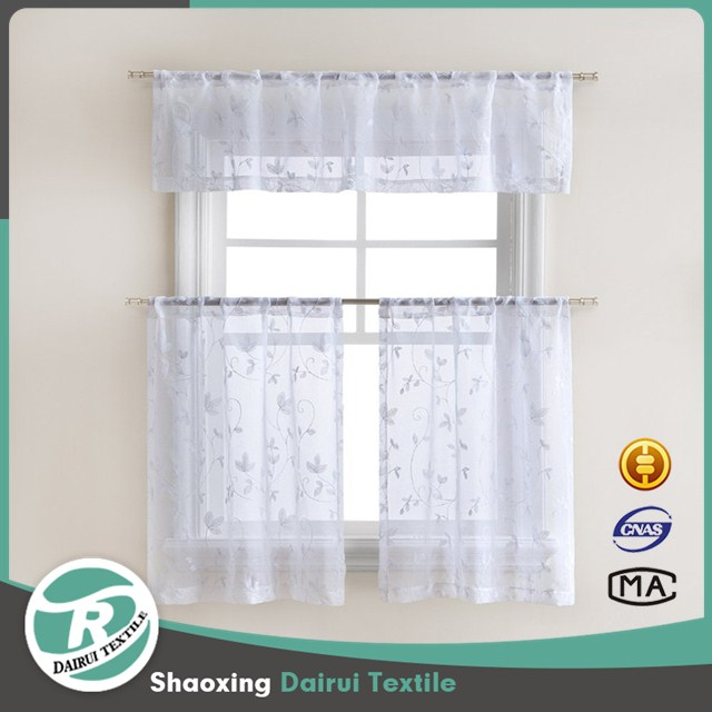 Kitchen Curtain Tiers, Kitchen Curtain Tiers Suppliers And Intended For Solid Microfiber 3 Piece Kitchen Curtain Valance And Tiers Sets (#25 of 50)
