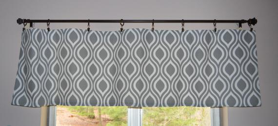 "Kitchen Curtain Valance . Gray And White Teardrop . Premier Prints Nicole Twill . 15""l X 52""w . Unlined (View 24 of 42)"