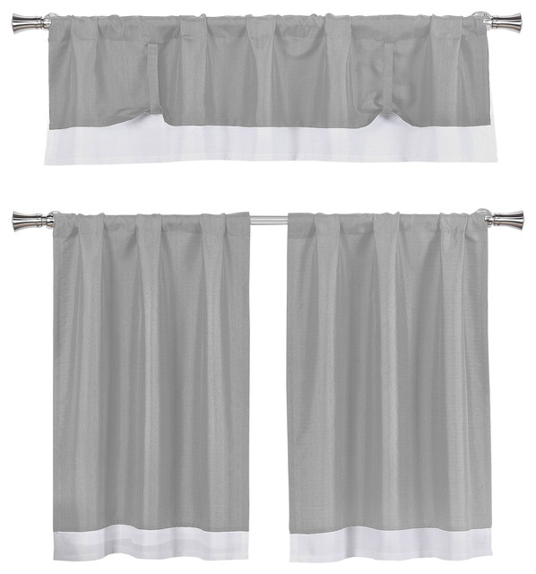 Kitchen Curtains 3 Piece Set, Tie Up Solid Textured, Gray, White Inside Dove Gray Curtain Tier Pairs (View 21 of 30)