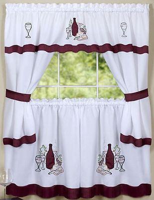 Kitchen Curtains Embellished Cottage Set, Wine & Grapes, Cabarnetachim  | Ebay Inside Chateau Wines Cottage Kitchen Curtain Tier And Valance Sets (View 20 of 30)