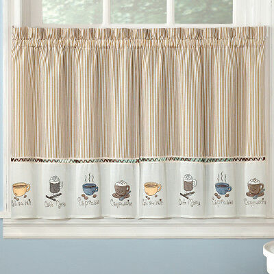 Kitchen Curtains Java Coffee Mocha Typography 36L Tier With Regard To Embroidered 'Coffee Cup' 5 Piece Kitchen Curtain Sets (View 22 of 30)