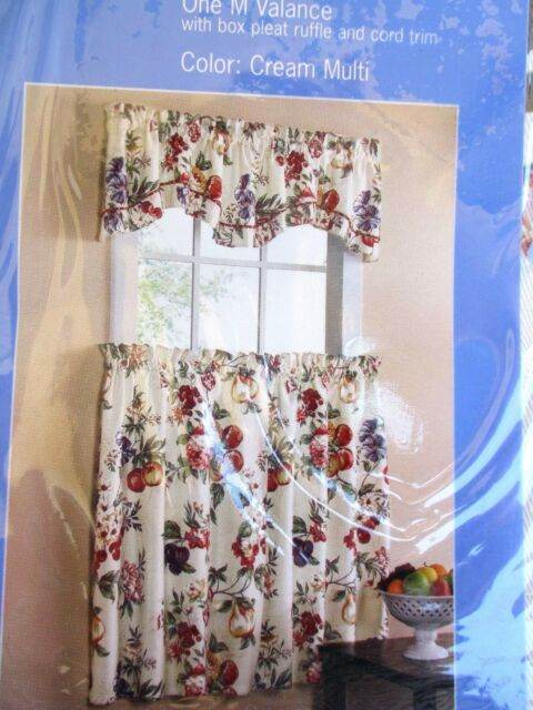 """Kitchen Curtains..orchard..1 Valance & 2 Tiers..fits 29"""" Window. (#13 of 30)"""