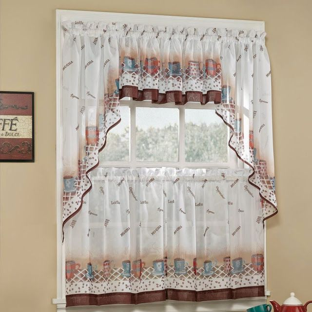 Popular Photo of Floral Lace Rod Pocket Kitchen Curtain Valance And Tiers Sets