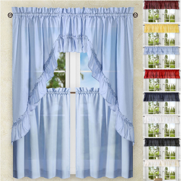 Kitchen Curtains | Tiers | Swags | Valances | Lace Kitchen Intended For Faux Silk 3 Piece Kitchen Curtain Sets (View 26 of 44)