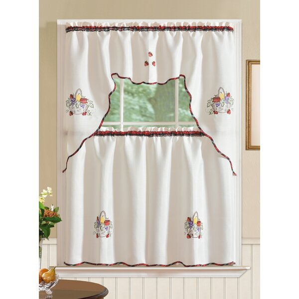 Kitchen Curtains With Fruit | Wayfair Within Solid Microfiber 3 Piece Kitchen Curtain Valance And Tiers Sets (#26 of 50)
