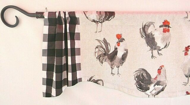 Kitchen Curtain~Window Valance~French Country~Rooster~Red~Gray~Black Check For Barnyard Window Curtain Tier Pair And Valance Sets (View 37 of 50)