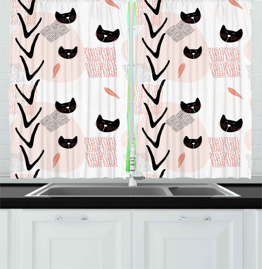 Kitchen: Details About Abstract Modern Kitchen Curtains Pertaining To Coastal Tier And Valance Window Curtain Sets (View 16 of 30)
