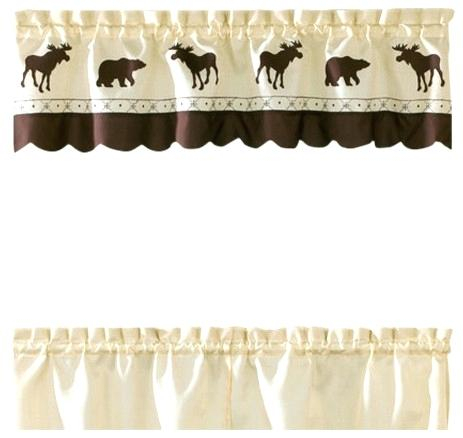 Kitchen Forest Moose Curtain Valance And Bear Curtains Pertaining To Forest Valance And Tier Pair Curtains (View 17 of 30)