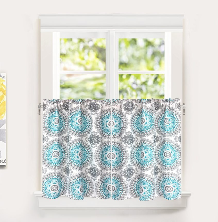 Kitchen: Modern Kitchen Curtains Best House Design Coffee With Coffee Embroidered Kitchen Curtain Tier Sets (View 20 of 30)