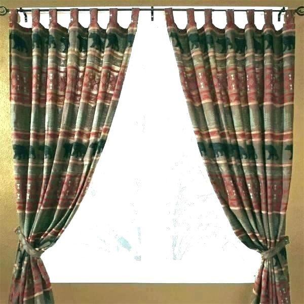Kitchen Moose Valance And Drapes Rustic Cabin Curtains Place Regarding Forest Valance And Tier Pair Curtains (View 18 of 30)
