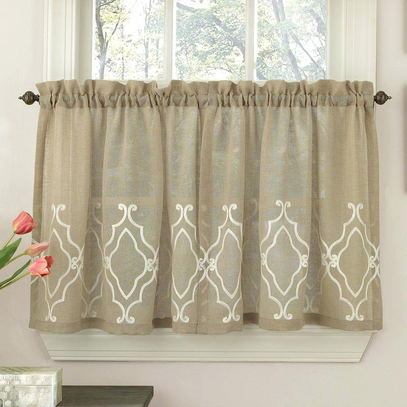 Kitchen Tier Curtain – Riverfarenh Pertaining To Embroidered Ladybugs Window Curtain Pieces (View 20 of 50)