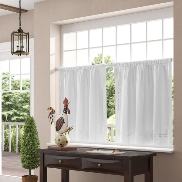 Kitchen Tier Curtains | Wayfair Throughout Linen Stripe Rod Pocket Sheer Kitchen Tier Sets (#25 of 46)