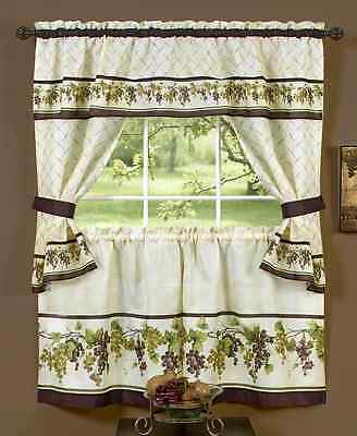 Kitchen Window Curtain Cottage 5 Piece Set Embroidered Pertaining To 5 Piece Burgundy Embroidered Cabernet Kitchen Curtain Sets (#35 of 50)