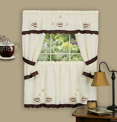Kitchen Window Curtain Cottage 5 Piece Set Embroidered Regarding 5 Piece Burgundy Embroidered Cabernet Kitchen Curtain Sets (#37 of 50)