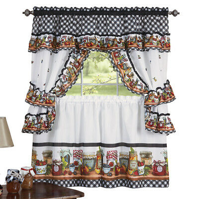 Kitchen Window Curtain Cottage 5 Piece Set Embroidered With Regard To 5 Piece Burgundy Embroidered Cabernet Kitchen Curtain Sets (#38 of 50)
