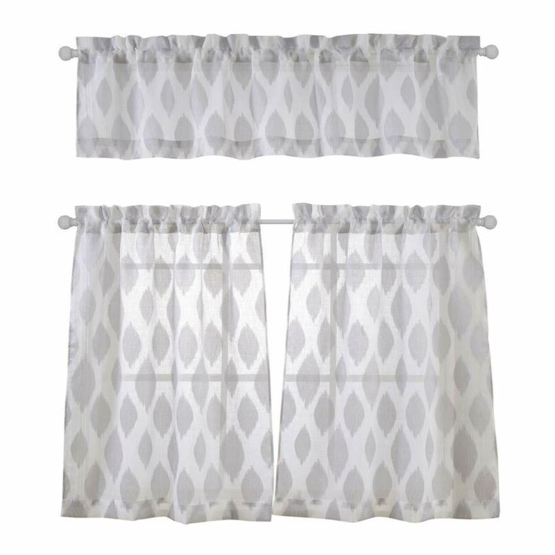 Kitchen Window Curtains | Window Curtains For Faux Silk 3 Piece Kitchen Curtain Sets (View 27 of 44)