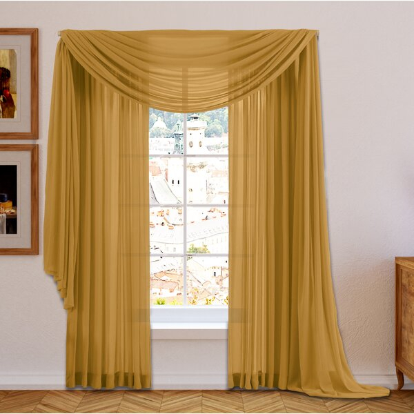 Kitchen Window Scarf | Wayfair With Regard To Cotton Classic Toast Window Pane Pattern And Crotchet Trim Tiers (View 34 of 50)