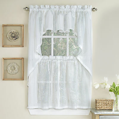 Knit Lace Bird Motif Kitchen Window Curtain Tiers, Swags Or In White Knit Lace Bird Motif Window Curtain Tiers (View 21 of 50)