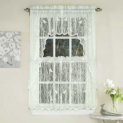 Knit Lace Bird Motif Kitchen Window Curtain Tiers, Swags Or Inside Elegant White Priscilla Lace Kitchen Curtain Pieces (View 8 of 30)
