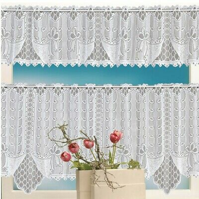 Knit Lace Bird Motif Kitchen Window Curtain Tiers, Swags Or Intended For Ivory Knit Lace Bird Motif Window Curtain (View 19 of 50)