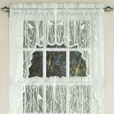 Popular Photo of White Knit Lace Bird Motif Window Curtain Tiers