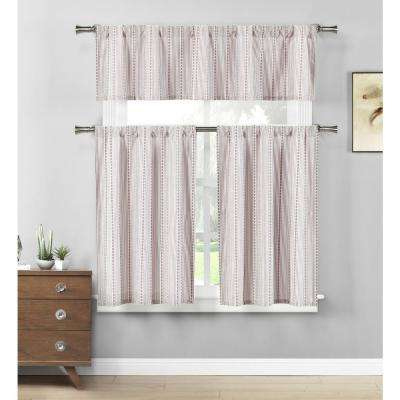 Kylie Burgundy White Kitchen Curtain Set – 58 In. W X 15 In (#37 of 50)