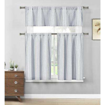 Kylie Jeans Blue White Kitchen Curtain Set – 58 In. W X 15 In (View 28 of 44)