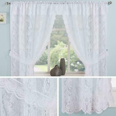 Lace Curtain Sets White Kew Complete Kitchen Window Floral Ready Made  Curtains | Ebay Within Glasgow Curtain Tier Sets (View 24 of 30)