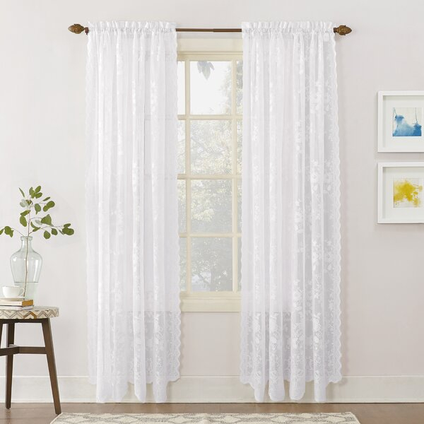 Lace Curtains 63 Inches | Wayfair Intended For Marine Life Motif Knitted Lace Window Curtain Pieces (#19 of 48)