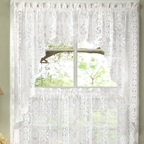 Inspiration about Lace Curtains And Swags | Wayfair In Floral Lace Rod Pocket Kitchen Curtain Valance And Tiers Sets (#12 of 50)