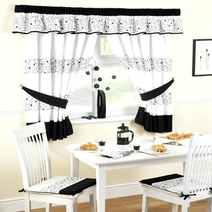 Inspiration about Lace Kitchen Curtains Sheer For Sale White Valances – Simple For Classic Black And White Curtain Tiers (#10 of 50)