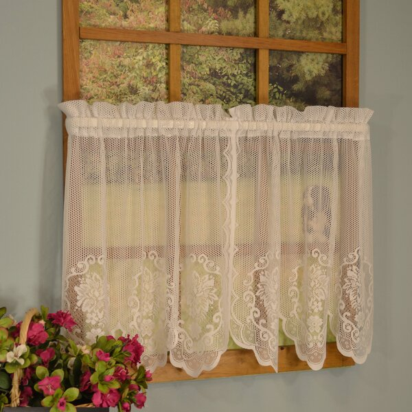 Lace Tier And Valance Sets | Wayfair In Marine Life Motif Knitted Lace Window Curtain Pieces (#20 of 48)