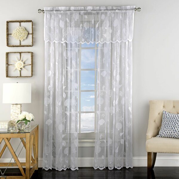 Popular Photo of Marine Life Motif Knitted Lace Window Curtain Pieces