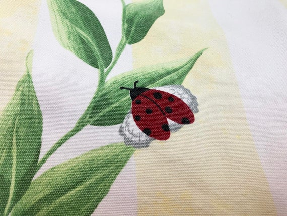 Inspiration about Ladybug Fabric Yardage Beautiful Vintage Tropical Vine Stripes With Large  Ladybugs 49X60 And 14X60 Intended For Embroidered Ladybugs Window Curtain Pieces (#27 of 50)