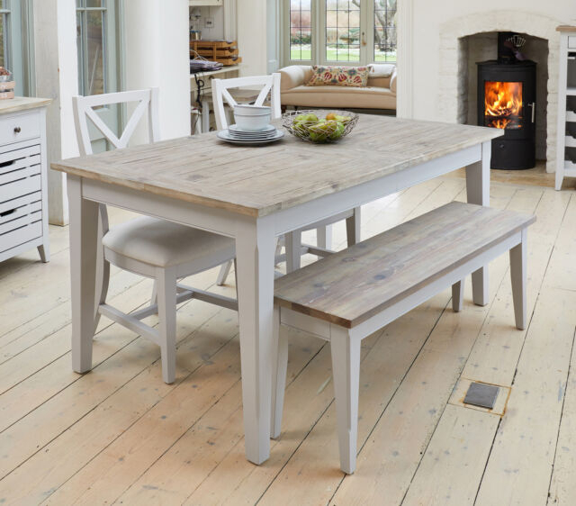 Langton Reclaimed Wood Dining Tables Regarding Well Known Benson Grey Painted Furniture Extending Dining Table Two Chairs And Bench  Set (#16 of 30)