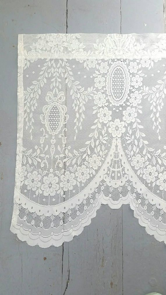 Inspiration about Large Lace Window Curtain. Long Lace Window Valance. White With Elegant White Priscilla Lace Kitchen Curtain Pieces (#22 of 30)