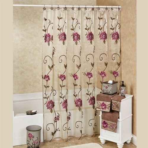 Inspiration about Larissa Embroidered Floral Sheer Shower Curtain Pertaining To Embroidered Floral 5 Piece Kitchen Curtain Sets (#20 of 30)