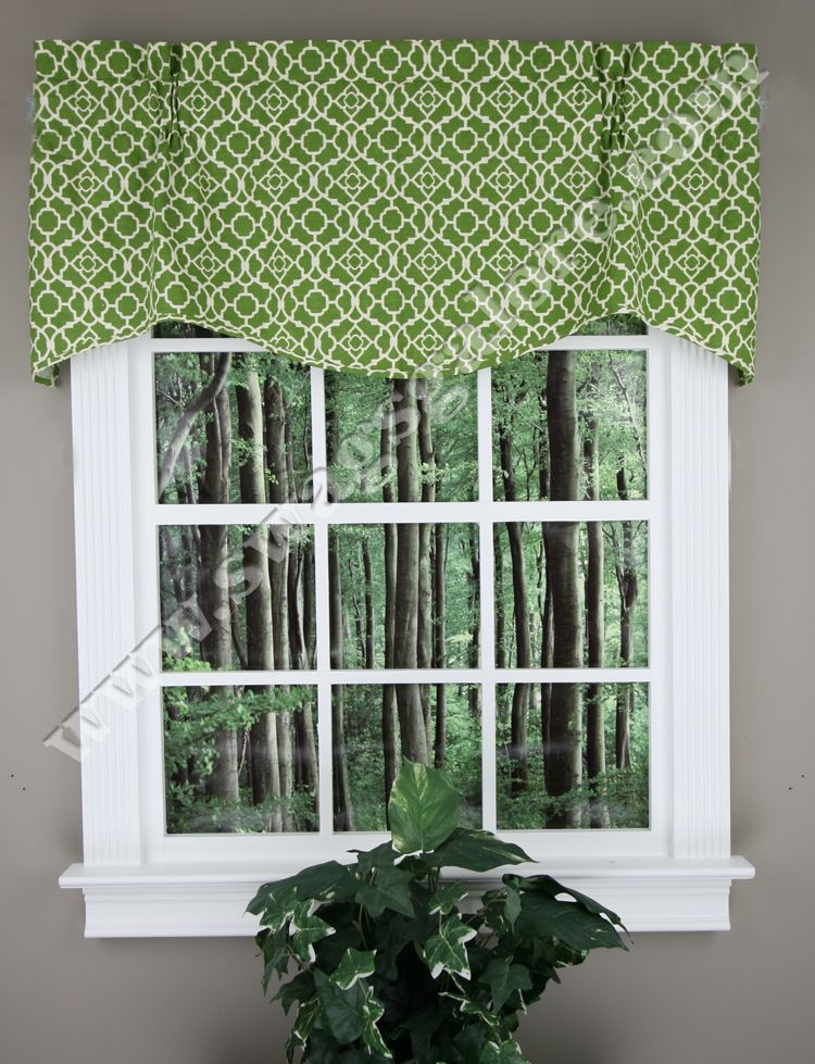 "Lattice, 50""w X 16""l Lovely Wave Valance – Indigo Within Trellis Pattern Window Valances (#16 of 30)"