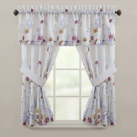 Laura Ashley Harper Green Window Valance Bedding In 2019 With Regard To French Vanilla Country Style Curtain Parts With White Daisy Lace Accent (View 26 of 50)