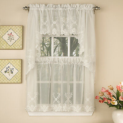 Inspiration about Laurel Leaf Sheer Voile Embroidered Ivory Kitchen Curtains Tier, Valance Or  Swag | Ebay With Regard To Scroll Leaf 3 Piece Curtain Tier And Valance Sets (#18 of 50)