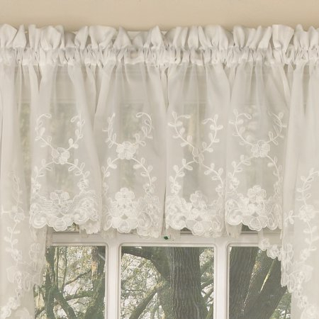 Inspiration about Laurel Leaf Sheer Voile Embroidered Kitchen Curtains 24 Inch With Floral Embroidered Sheer Kitchen Curtain Tiers, Swags And Valances (#20 of 50)