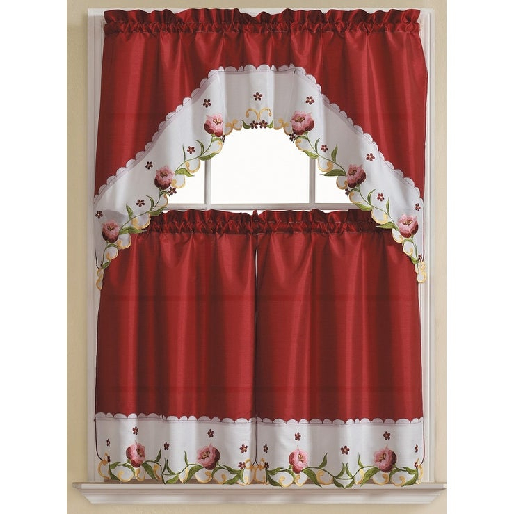 Leela 3 Piece Embroidered Kitchen Curtain Set, Burgundy, Tiers 30x36, Swag 60x36 Inches Intended For Chardonnay Tier And Swag Kitchen Curtain Sets (View 14 of 50)