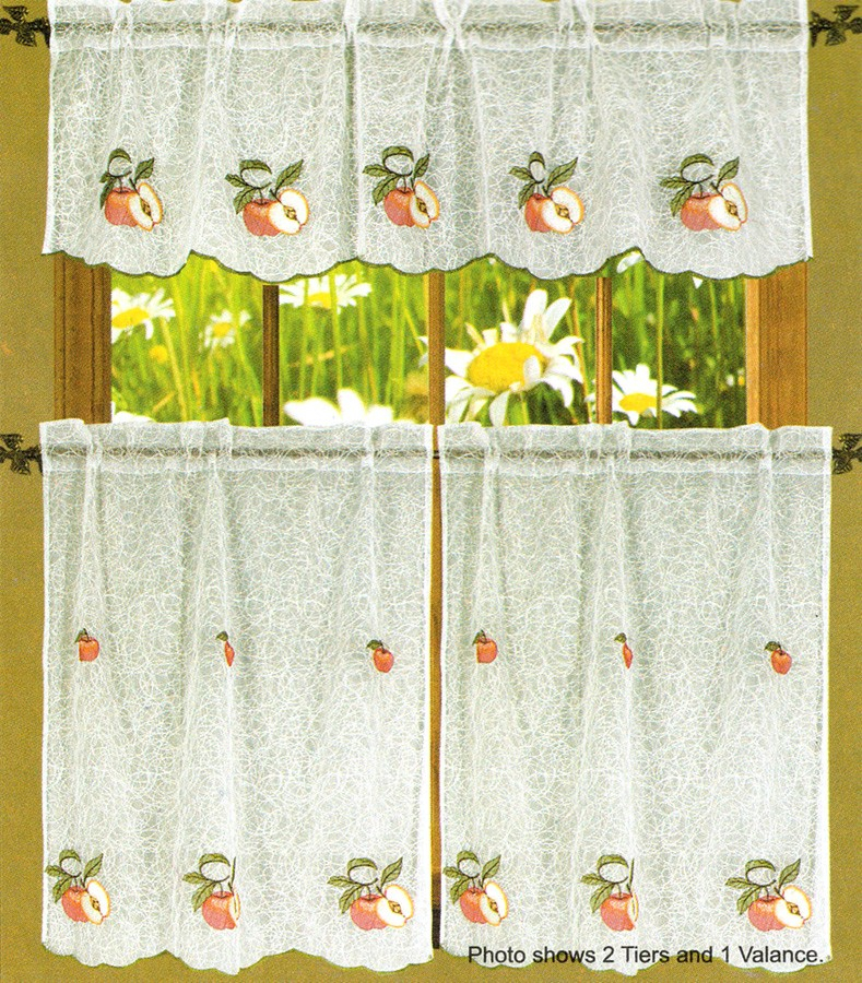 Legacy Red Apple Embroidered 3 Piece Sheer Kitchen Curtain Set – 30X36 &  18X60 With Chardonnay Tier And Swag Kitchen Curtain Sets (View 31 of 50)