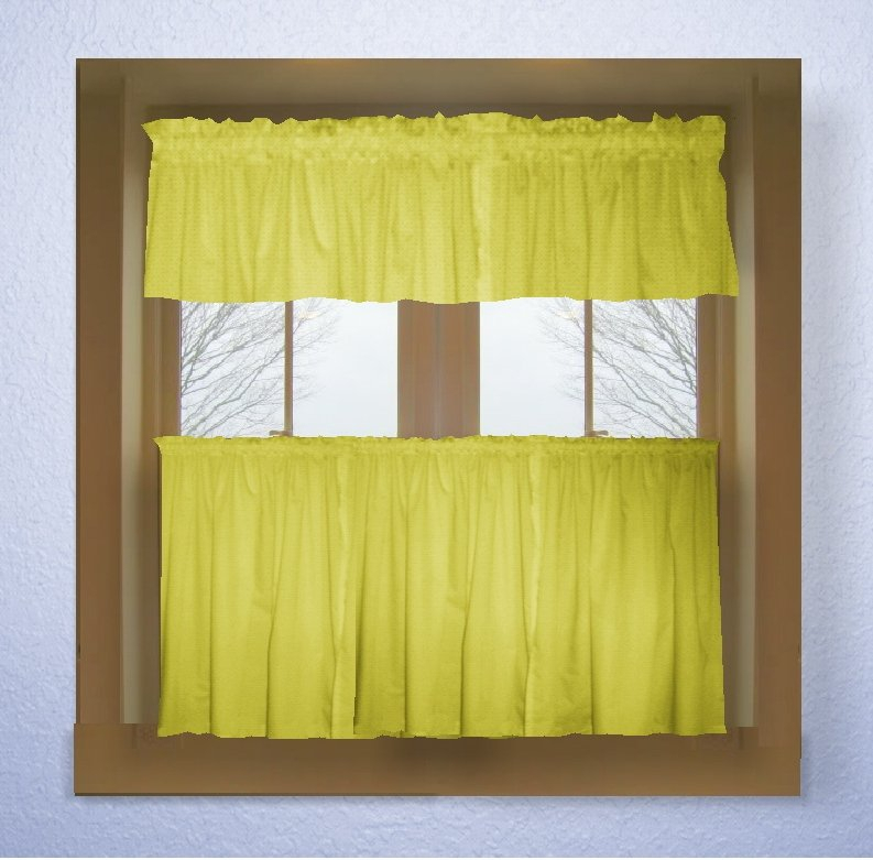 Lemon Bright Yellow Color Tier Kitchen Curtain Two Panel Set Inside Lemon Drop Tier And Valance Window Curtain Sets (View 22 of 30)