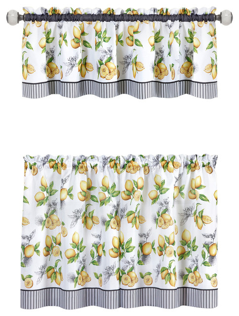 Popular Photo of Lemon Drop Tier And Valance Window Curtain Sets