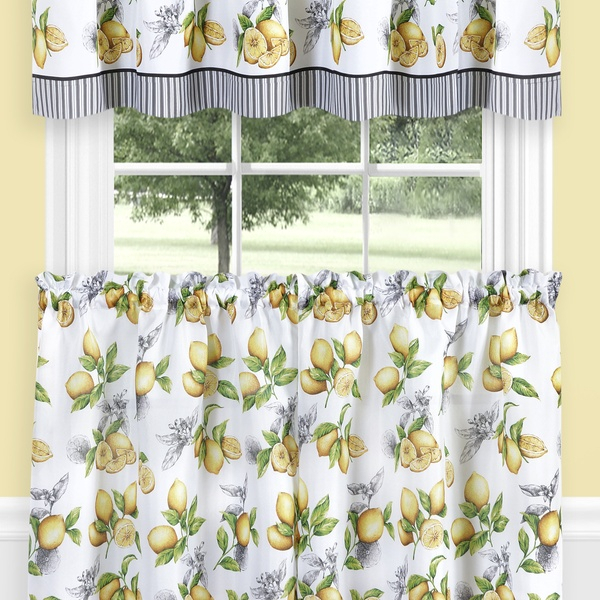 Lemon Drop Tier And Valance Window Curtain Set – Yellow Intended For Lemon Drop Tier And Valance Window Curtain Sets (#17 of 30)